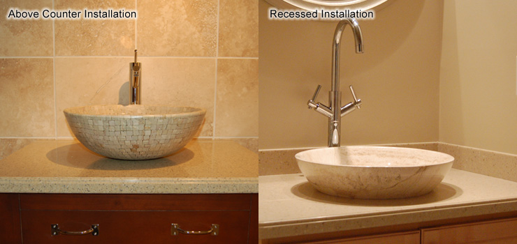 The Completed Installed Vessel Sinks, Showing The Above Counter  Installation And Recessed Installation.