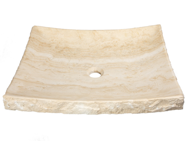 Travertine Sinks | Natural Stone Vessels-White Travertine Large Zen Sink